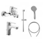 Комплект смеситель для ванны, смеситель для раковины, душевой гарнитур Huber H2 H29K00-1021 хром