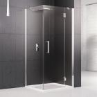Душевая кабина квадратная правая, дверь распашная Novellini Louvre G+F 90x90 хром, прозрачное стекло