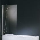 Шторка для ванны Novellini Aurora 1 80x150 AURORAN180-1B серебро, прозрачное стекло